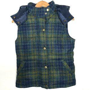 Madewell Wearmaster Outerwear Womens Plaid Wool Vest Hood Down Blue Green Small